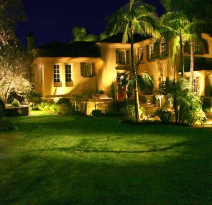 Moon lighting, house facade lighting, second story lighting, rock wall lighting