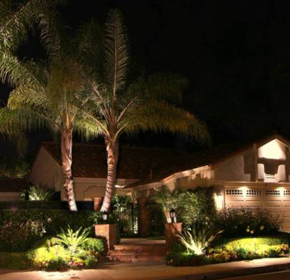 Peak and garage lights, palm tree lights, planter accent lights