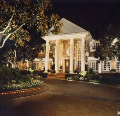 Georgian style home , column lights, column accent lights, area lights, tree up lights