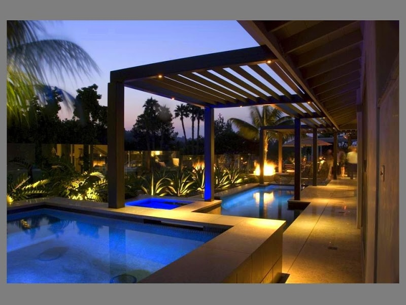 Pool Lighting near Pergola