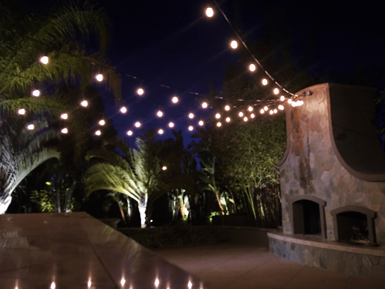 Outdoor Bistro Lights near the Fireplace